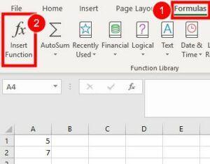 Basic Excel Formulas Insert function