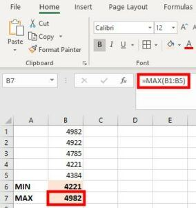 Excel Min and Max Formula example