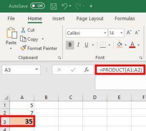 Excel Product formula