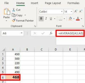 Average Excel formula