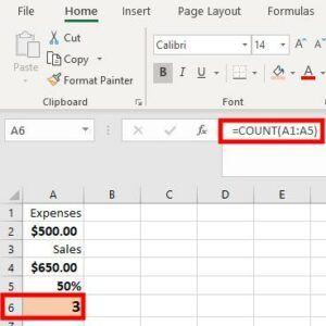 Count excel formula