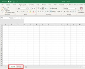 Excel tab location
