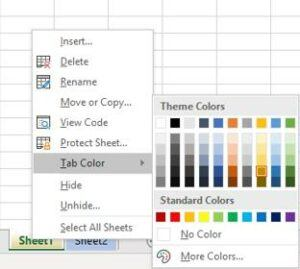 How to add color tabs in Excel