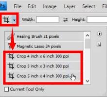 Crop tool presets
