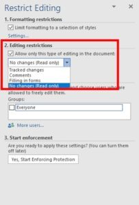 Editing restrictions for Word document