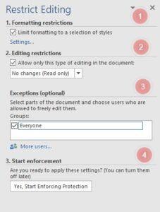 Restrict Editing panel