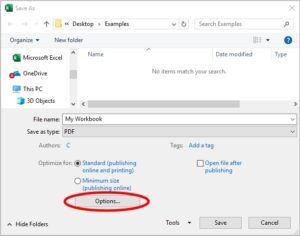 Save as PDF - options button