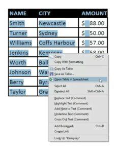 open table in spreadsheet