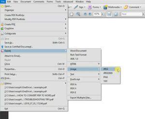 Convert PDF to JPEG using Adobe