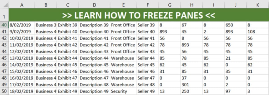 How to freeze the top row in excel and split window