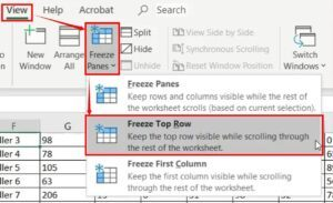 How to Freeze Top Row in Excel - freeze panes option 1