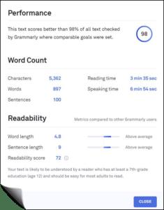 Grammarly Performance Statistics