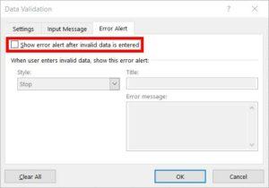 Untick Error Alert